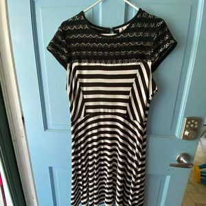 Elle dress black and white stripe with lace